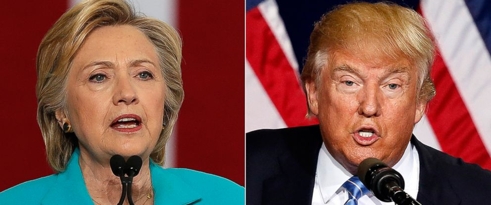 PHOTO: (L-R) Democratic presidential nominee Hillary Clinton in Reno, Nevada, Aug. 25, 2016 and Republican presidential candidate Donald Trump in Phoenix, Aug. 31, 2016.