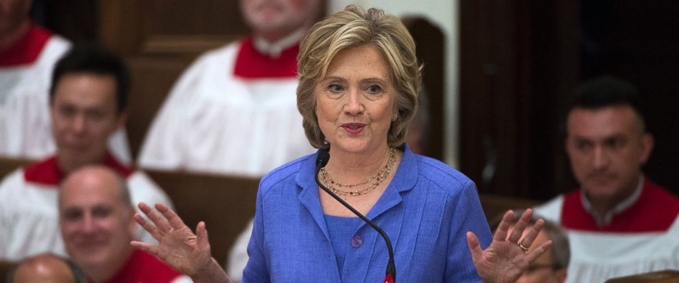 PHOTO: Democratic presidential candidate Hillary Rodham Clinton speaks while attending the Foundry United Methodist Church for their Bicentennial Homecoming Celebration, in Washington, Sept. 13, 2015.