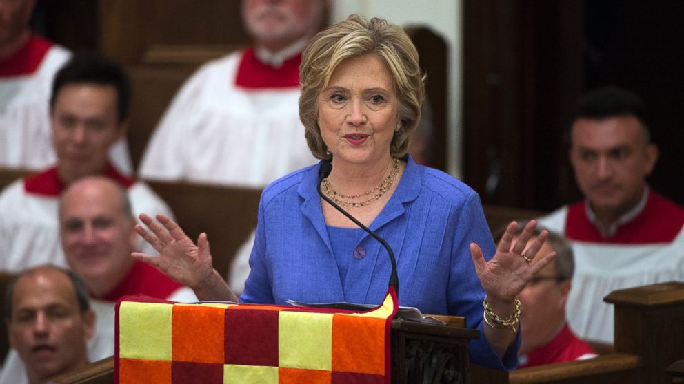 Democratic presidential candidate Hillary Rodham Clinton speaks while attending the Foundry United Methodist Church for their Bicentennial Homecoming Celebration, in Washington, Sept. 13, 2015.