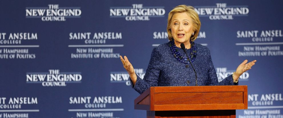 PHOTO: Democratic presidential candidate Hillary Rodham Clinton speaks during a campaign stop at the New Hampshire Institute of Politics at Saint Anselm College, Oct. 28, 2015, in Manchester, N.H.