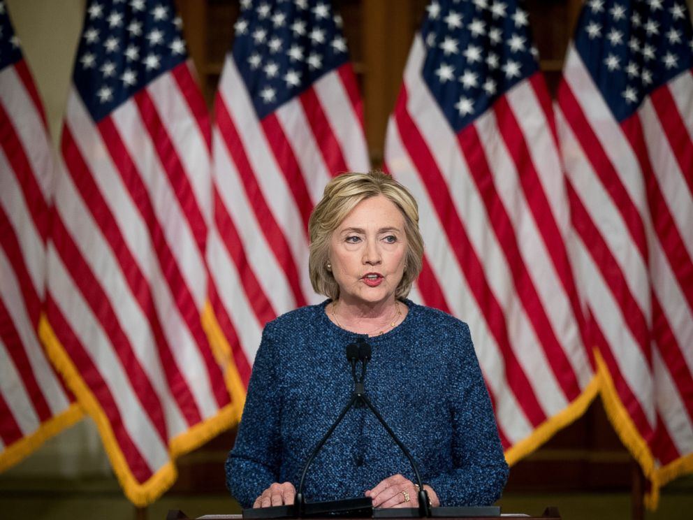 PHOTO: Democratic presidential nominee Hillary Clinton gives a statement to members of the media after attending a National Security working session at the Historical Society Library, in New York, Sept. 9, 2016.