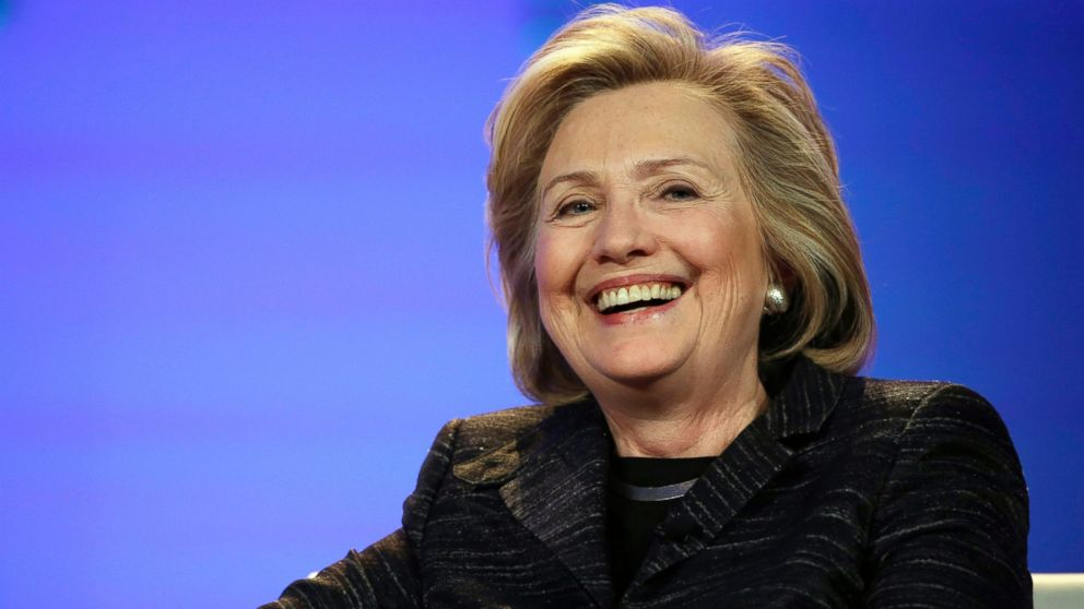 Hillary Rodham Clinton smiles during a keynote address at the Watermark Silicon Valley Conference for Women, Feb. 24, 2015, in Santa Clara, Calif.