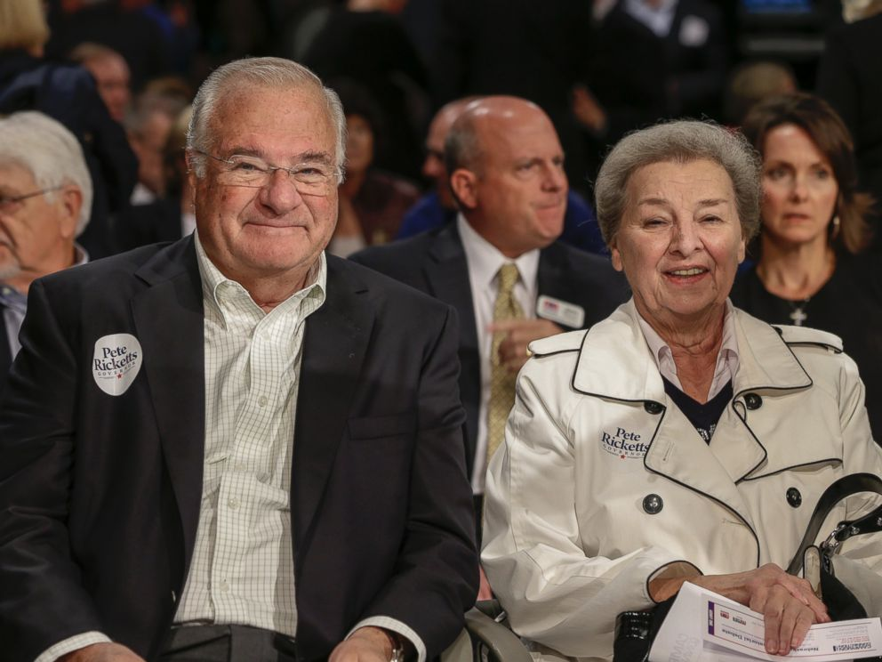 PHOTO: Joe and Marlene Ricketts, parents of Republican gubernatorial candidate Pete Ricketts, are seen prior to a debate in Lincoln, Nebraska, Oct. 2, 2014.