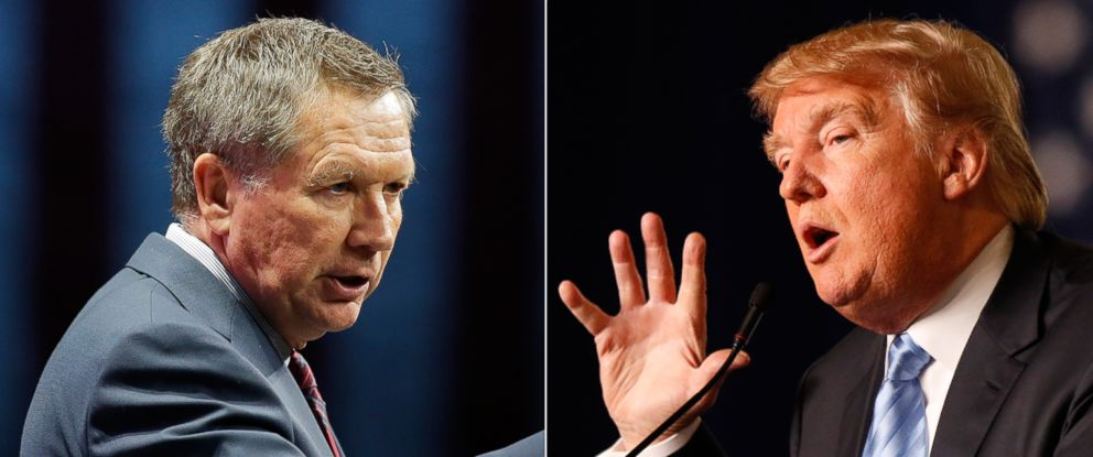 PHOTO: (L-R) Republican presidential candidate Ohio Gov. John Kasich addresses the Sunshine Summit in Orlando, Fla., Nov. 14, 2015 and Republican presidential candidate Donald Trump speaks at a rally in Columbus, Ohio, Nov. 23, 2015.