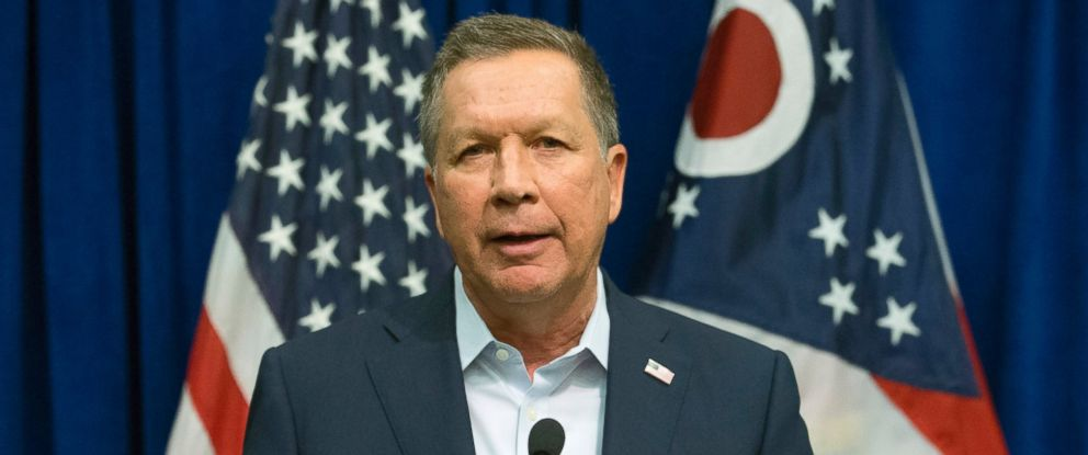 PHOTO: Republican presidential candidate, Ohio Gov. John Kasich speaks during a news conference at the Northeast Hamilton County Republican Club pancake breakfast, March 12, 2016, in Cincinnati.