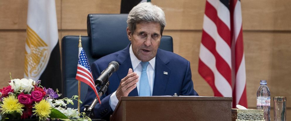 PHOTO: U.S. Secretary of State John Kerry makes a statement after a meeting with Gulf states and other Middle East countries in Jiddah, Saudi Arabia, Sept. 11, 2014.