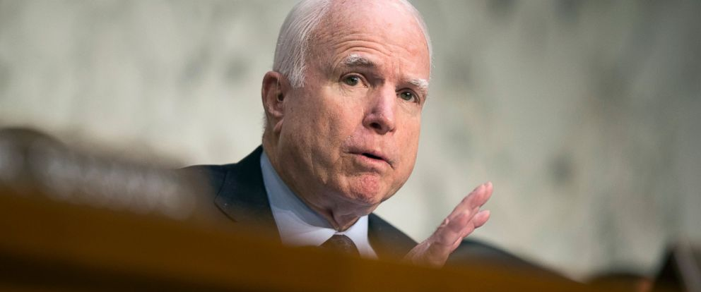 PHOTO: Senate Armed Services Committee Chairman Sen. John McCain, R-Ariz. speaks on Capitol Hill in Washington, April 28, 2016, during the committees hearing on the Islamic State group.