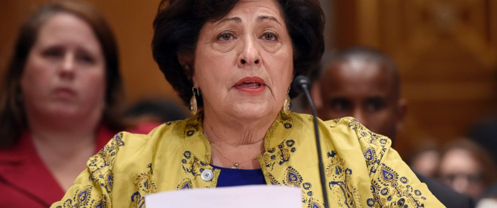 PHOTO: Office of Personnel Management (OPM) director Katherine Archuleta testifies on Capitol Hill in Washington, June 25, 2015.