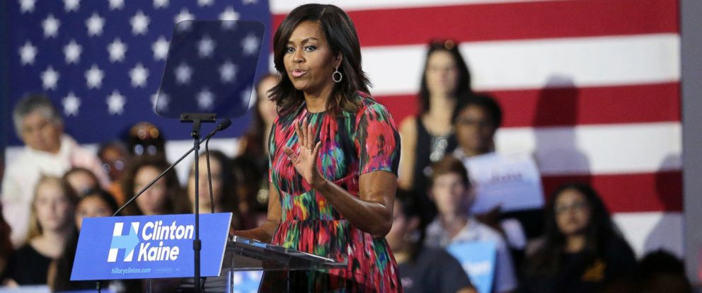 PHOTO: First lady Michelle Obama speaks during a campaign rally for Democratic presidential candidate Hillary Clinton, Oct. 4, 2016, in Charlotte, N.C.