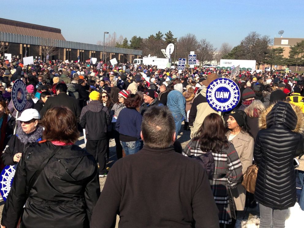 PHOTO: People wait for the start of a health care rally in Warren, Michigan, north of Detroit, Jan. 15, 2017.