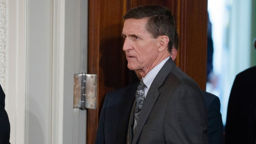 Mike Flynn arrives for a news conference in the East Room of the White House in Washington, Feb. 13, 2017.