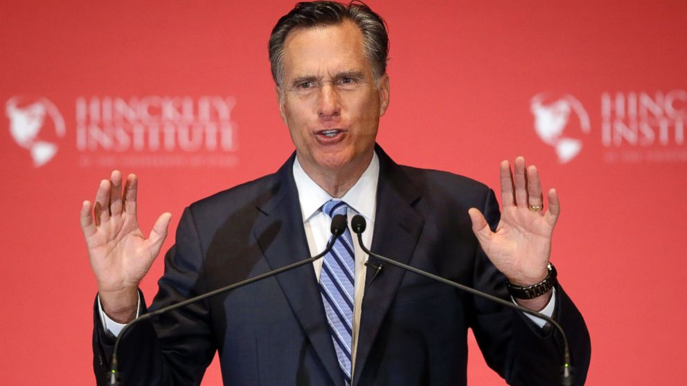 Former Republican presidential candidate Mitt Romney weighs in on the Republican presidential race during a speech at the University of Utah, March 3, 2016, in Salt Lake City.