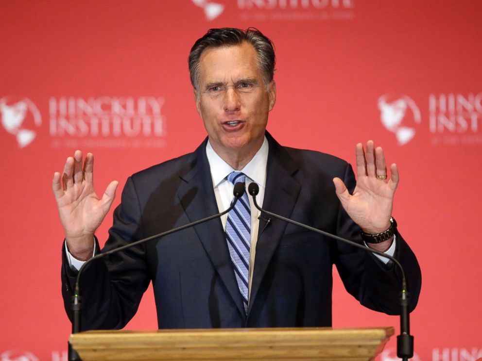 PHOTO: Former Republican presidential candidate Mitt Romney weighs in on the Republican presidential race during a speech at the University of Utah, March 3, 2016, in Salt Lake City.