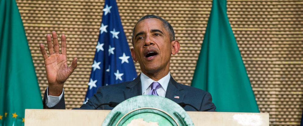 PHOTO: President Barack Obama delivers a speech to the African Union, July 28, 2015, in Addis Ababa, Ethiopia.