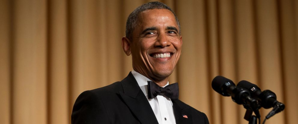 PHOTO: President Barack Obama smiles while making a joke during his speech at the White House Correspondents Association (WHCA) Dinner at the Washington Hilton Hotel, Saturday, May 3, 2014, in Washington.