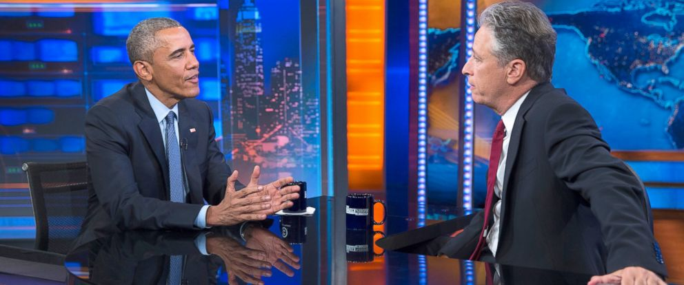 "PHOTO: President Barack Obama, left, talks with Jon Stewart, host of ""The Daily Show"" during a taping, July 21, 2015, in New York."
