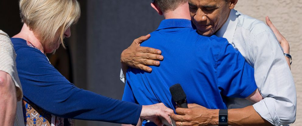 PHOTO: President Barack Obama embraces Army Ranger Sgt. 1st Class Cory Remsburg, a veteran of Afghanistan and a wounded warrior who the President highlighted in his 2014 State of the Union Address, March 13, 2015
