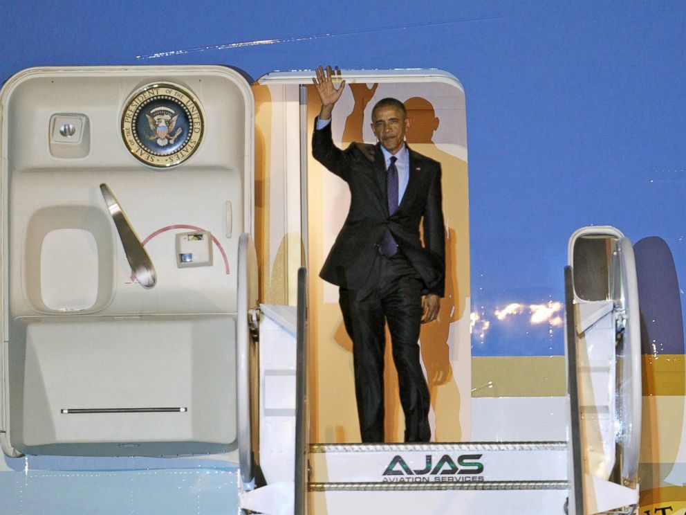 PHOTO: President Barack Obama waves during his arrival on Air Force One, April 8, 2015, at Norman Manley International Airport in Kingston, Jamaica.