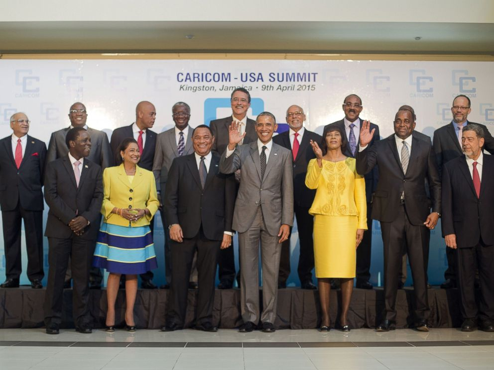 PHOTO: President Barack Obama, center, and Jamaican Prime Minister Portia Simpson-Miller, third from right, are joined by Caribbean Community (CARICOM) leaders for a group photo during the start of their summit, April 9, 2015, in Kingston, Jamaica.