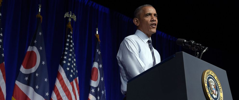 PHOTO: President Barack Obama speaks at a campaign event for the Ohio Democratic Party and for the Senate bid for former Ohio Gov. Ted Strickland at the Greater Columbus Convention Center in Columbus, Ohio, Oct. 13, 2016.