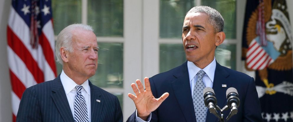 PHOTO: President Barack Obama, accompanied by Vice President Joe Biden, speaks about immigration reform, June 30, 2014, in the Rose Garden at the White House in Washington.