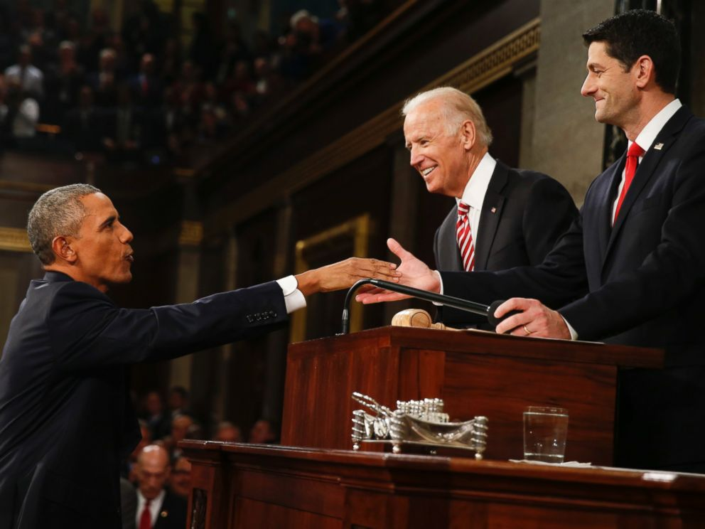 PHOTO: President Barack Obama shakes hands with House Speaker Paul Ryan as Vice President Joe Biden watches before the State of the Union address to a joint session of Congress on Capitol Hill in Washington, Jan. 12, 2016.