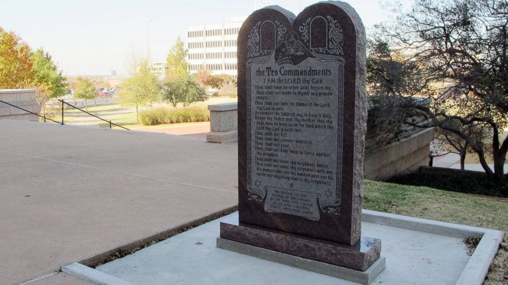 A Ten Commandments monument erected outside the Oklahoma state Capitol is shown, Nov. 16, 2012.