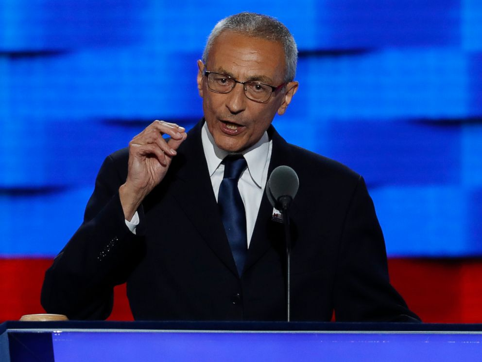 PHOTO: In this July 25, 2016, file photo, John Podesta, Clinton Campaign Chairman, speaks during the first day of the Democratic National Convention in Philadelphia.