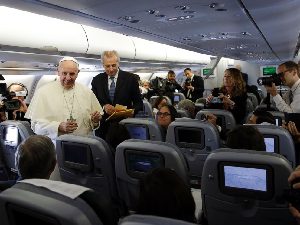 PHOTO: Pope Francis meets the journalists aboard the papal airplane on the occasion of his visit to Quito, Ecuador, July 5, 2015.