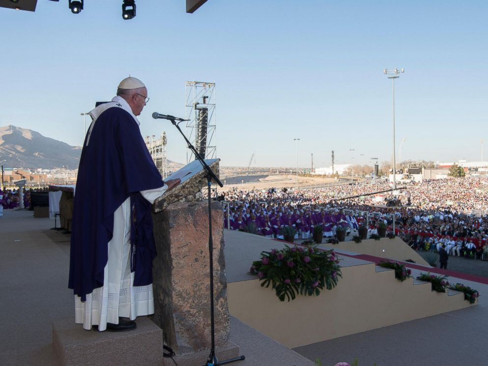 PHOTO:Pope Francis speaks during a mass he celebrated in Ciudad Juarez, Mexico, Feb. 17, 2016.