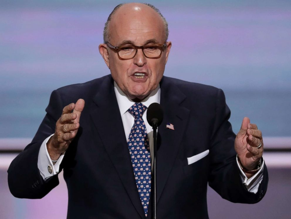 PHOTO: Former New York Mayor Rudy Giuliani speaks during the opening day of the Republican National Convention in Cleveland, July 18, 2016.