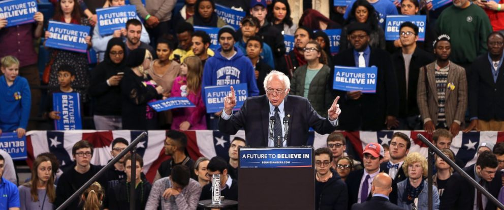PHOTO: Democratic presidential candidate Sen. Bernie Sanders speaks at a campaign rally, April 11, 2016, in Buffalo, N.Y.