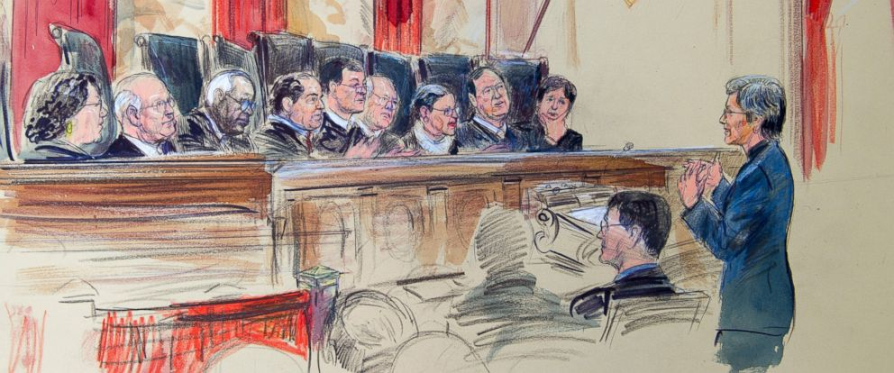 PHOTO: This artist rendering shows civil rights lawyer Mary Bonauto right. arguing before the Supreme Court during its hearing on same-sex marriage, April 28, 2015, in Washington.