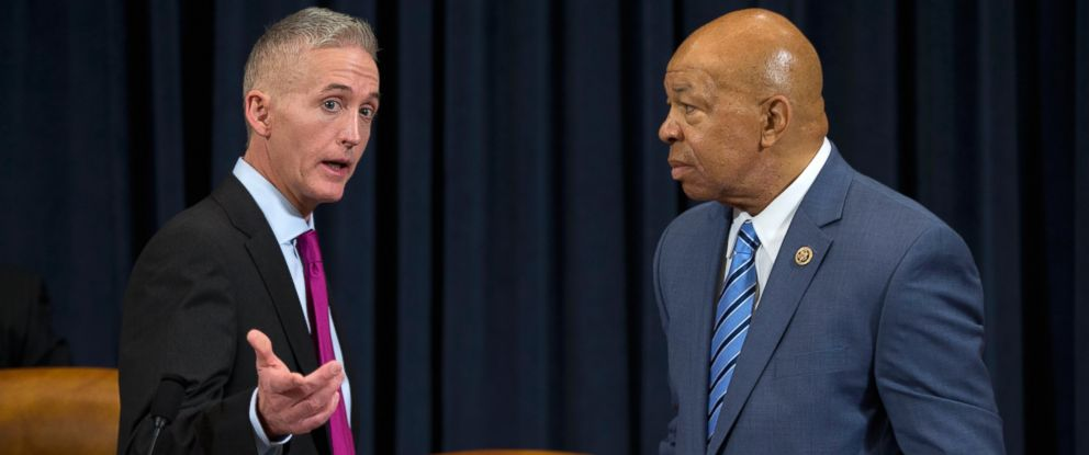 PHOTO: House Benghazi Committee Chairman Rep. Trey Gowdy, R-S.C., left, talks with the committees ranking member Rep. Elijah Cummings, D-Md. on Capitol Hill in Washington, Oct. 22, 2015, prior to the start of the committees hearing on Benghazi.