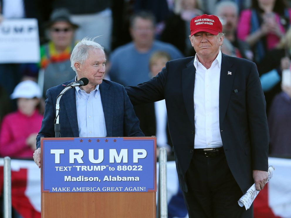 PHOTO: Donald Trump, right, stands next to Sen. Jeff Sessions, as Sessions speaks during a rally, Feb. 28, 2016, in Madison, Ala.
