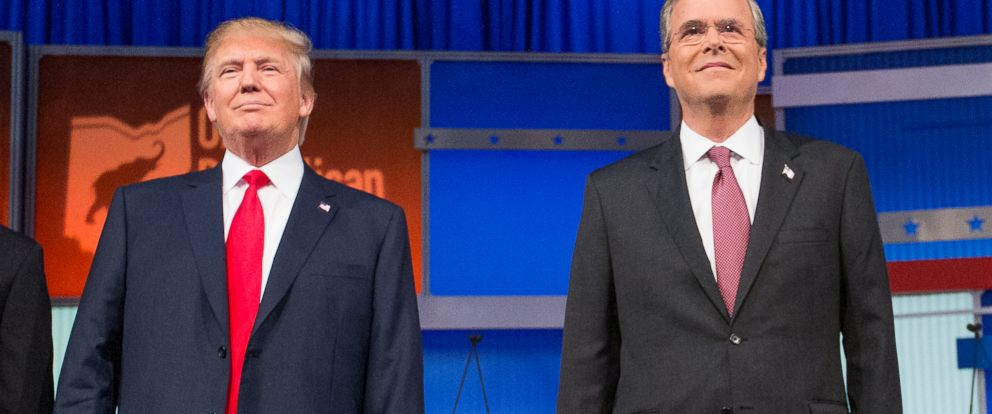 PHOTO: Republican presidential candidates Donald Trump and former Florida Gov. Jeb Bush, at the first Republican presidential debate, Aug. 6, 2015, in Cleveland.