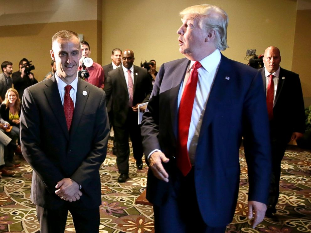PHOTO: Republican presidential candidate Donald Trump, right, walks with his campaign manager Corey Lewandowski after speaking at a news conference in Dubuque, Iowa, Aug. 25, 2015.