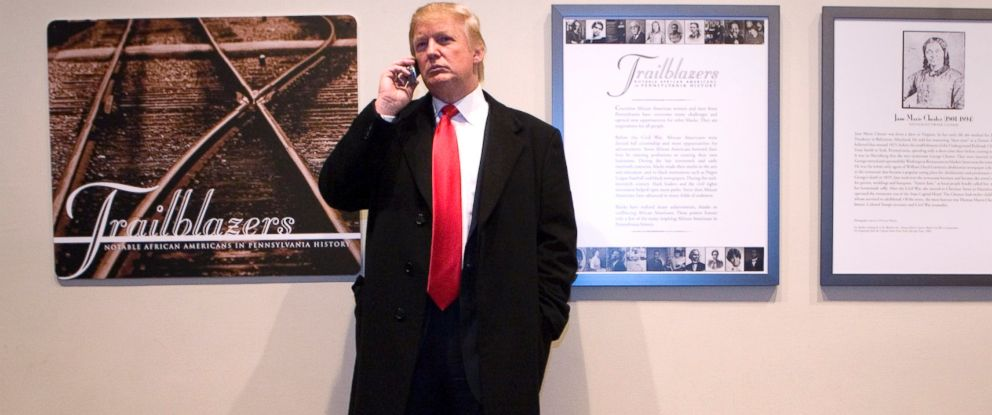 PHOTO: Donald Trump talks on his phone during a recess in the second day of the Pennsylvania Gaming Control Board hearings at the Pennsylvania State Museum in Harrisburg, Pa. on Nov. 14, 2006.