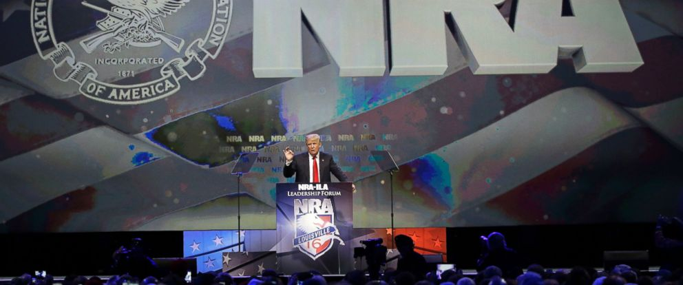 PHOTO: Donald Trump speaks at the National Rifle Association convention, May 20, 2016, in Louisville, Ky.