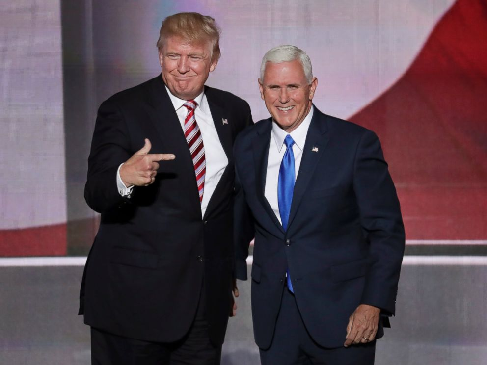PHOTO:Republican presumptive presidential nominee Donald Trump, points toward Republican Vice Presidential Nominee Gov. Mike Pence after Pences acceptance speech during the third day of the Republican National Convention in Cleveland, July 20, 2016.