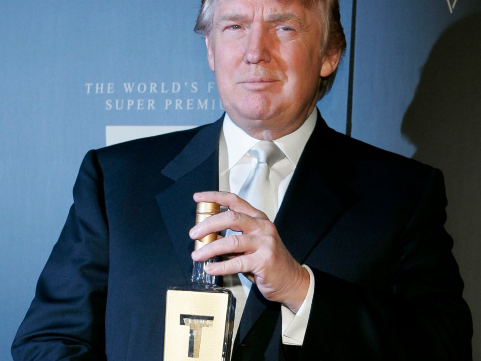 PHOTO:In this file photo, Donald Trump holds a bottle of his new line of vodka as he arrives for the Trump Vodka launch party, Jan. 17, 2007 in Los Angeles.