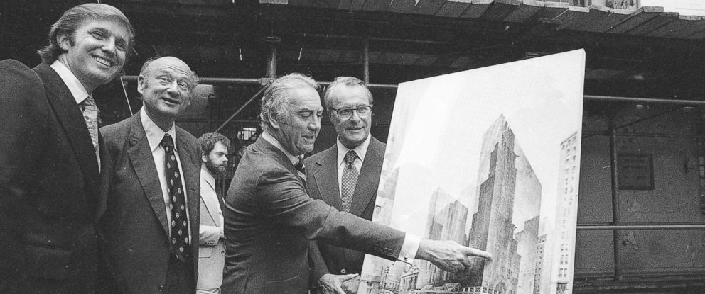 PHOTO: Governor Hugh Carey points to an artists conception of the new New York Hyatt Hotel/Convention facility that will be build on the site of the former Commordore Hotel, June 28, 1978.