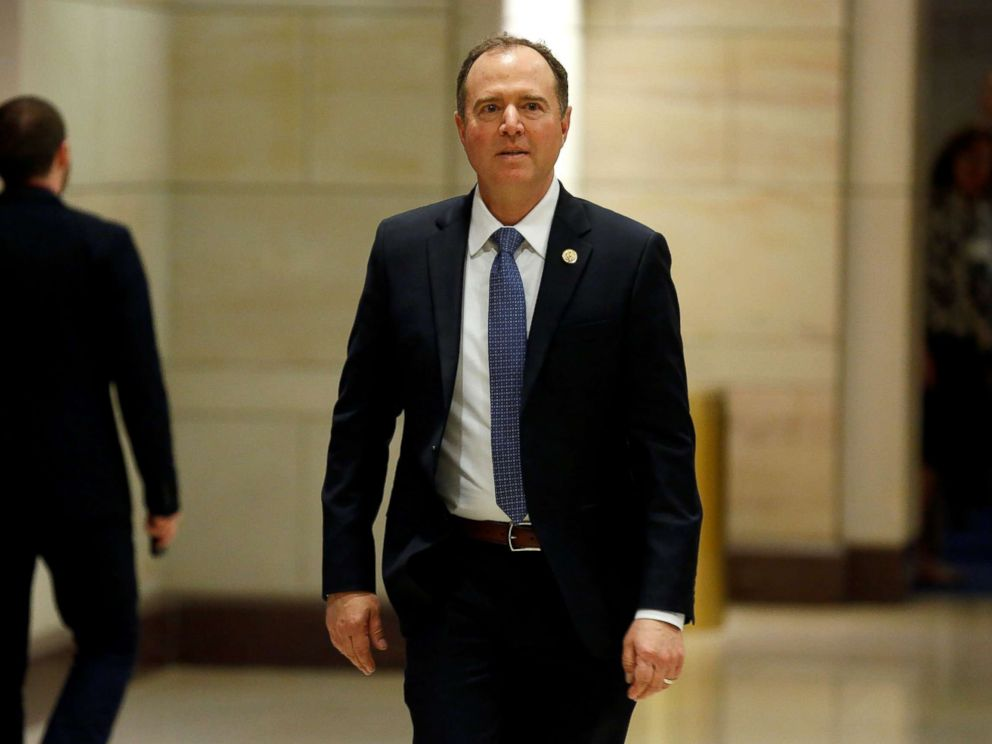 PHOTO: Rep. Adam Schiff (R-CA) arrives for a closed-door briefing on Syria for the U.S. House of Representatives on Capitol Hill in Washington, April 17, 2018.