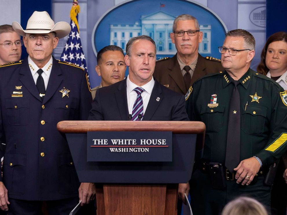 PHOTO: Matthew Albence, acting director of the US Immigration and Customs Enforcement participates in a media conference in the James S. Brady Press Briefing Room at the White House, Sept. 26, 2019.