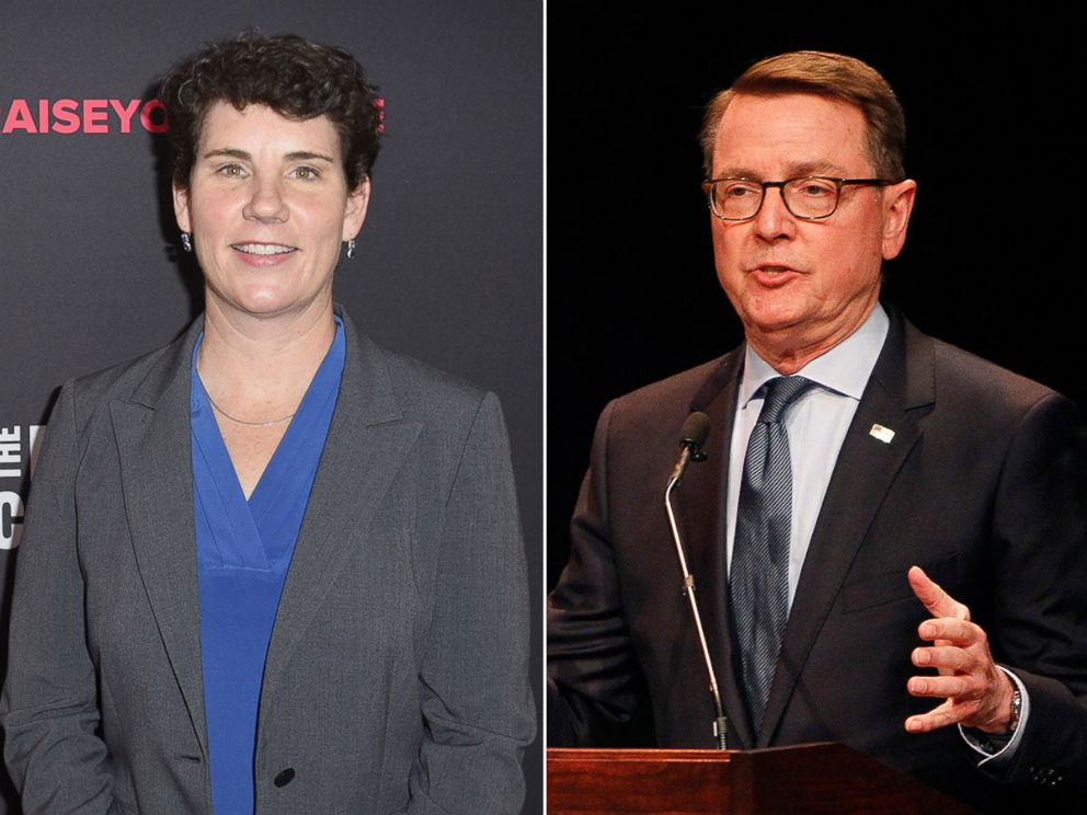 PHOTO: Congressional Candidate in Kentucky Amy McGrath attends The 2018 MAKERS Conference in Hollywood, Calif., Feb. 6, 2018, in Los Angeles. Mayor Jim Gray speaks during a debate for Congress in Lexington, Ky., April 18, 2018.
