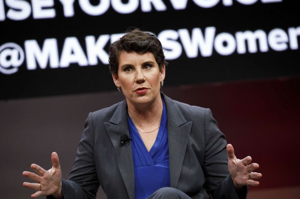 PHOTO: Amy McGrath, former U.S. Marine and Democratic congressional candidate for Kentucky, speaks during the 2018 MAKERS Conference in Hollywood, Calif., Feb. 6, 2018.