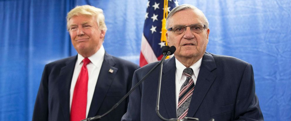 PHOTO: Republican presidential candidate Donald Trump, left, is joined by Maricopa County, Ariz., Sheriff Joe Arpaio during a new conference in Marshalltown, Iowa, Jan. 26, 2016.