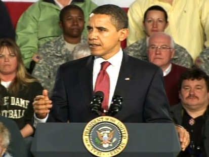 Video from ABC News Politics Live political show about Obamas tour to tout the stimulus bill.