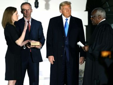 Following confirmation to Supreme Court, Barrett takes 1st oath at White House