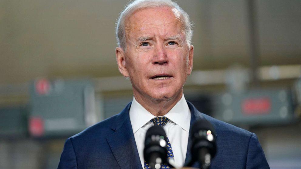 PHOTO: President Joe Biden speaks at Tidewater Community College, May 3, 2021, in Portsmouth, Va.
